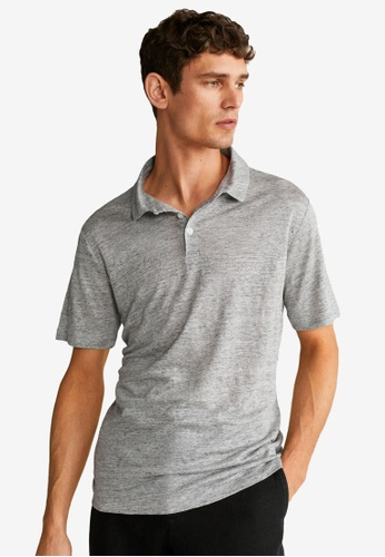 Mango Man grey Linen Polo Shirt B5ED2AA447CEF9GS_1