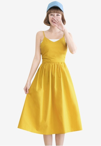 Tokichoi yellow Slit Cutout Tie Back Dress 9C7D1AA6E002CDGS_1