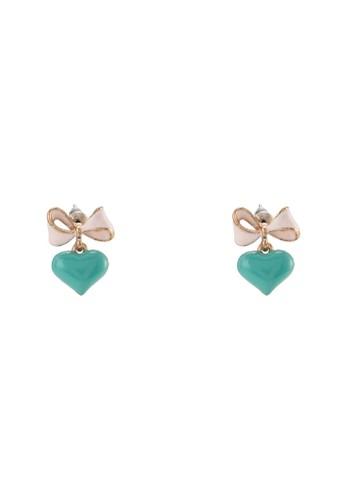 蝴蝶結心形墜飾搪瓷esprit童裝門市耳墜, 飾品配件, 耳釘