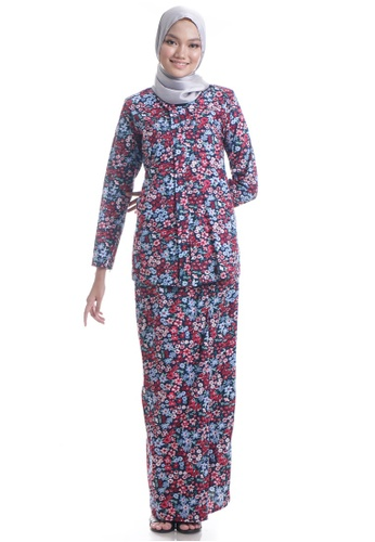 Ashura red and blue and multi Shazyna V-Shaped Kebaya F4BF3AA3D5C308GS_1
