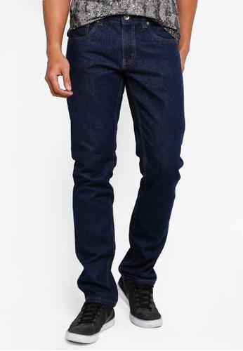 OVS 海軍藍色 丹寧 Straight 牛仔褲 76489AA6BD4134GS_1