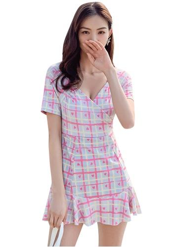 A-IN GIRLS 粉紅色 復古印花連體泳衣 0BB63US559D6B2GS_1