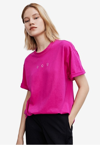 Urban Revivo pink Printed Short Sleeves Tee 83852AA4F868AFGS_1