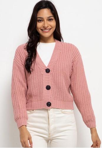 Peponi pink Oversize Button Cardigan 70A68AAFDAC5A7GS_1