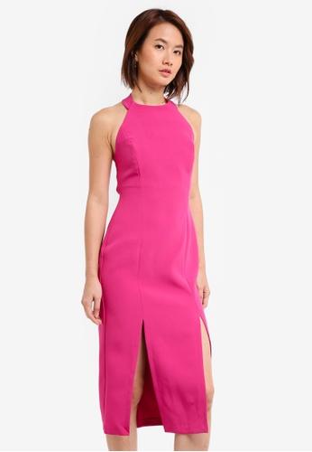 Vesper pink Vesper Ayda Split Front Midi Dress F5D8AAA6D6BE71GS_1