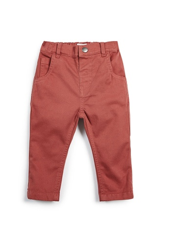 Mamas and Papas red Twill Chino Trousers with Pockets C0AF6KAE82FA7EGS_1