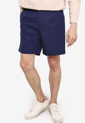 ZALORA BASICS navy Linen Tailored Shorts 2C29BAA5F283D4GS_1