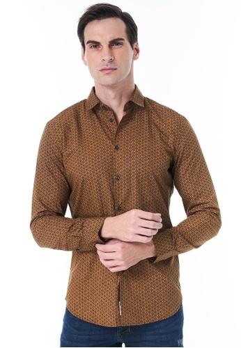 Sisley brown Printed Shirt 34FFCAA372C7ECGS_1