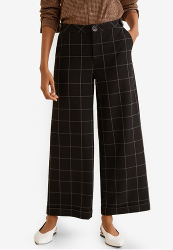 Mango black Check Flare Trousers 08D93AAD3A0CF9GS_1