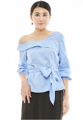 Nichii blue One Shoulder Waist Tie Top 5630FAA43E7A11GS_1