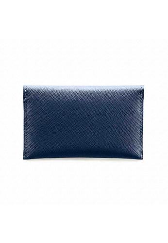 Crudo Leather Craft blue Senz'altro Name Card Holder - Saffiano Blue 67958ACEB0AAC4GS_1