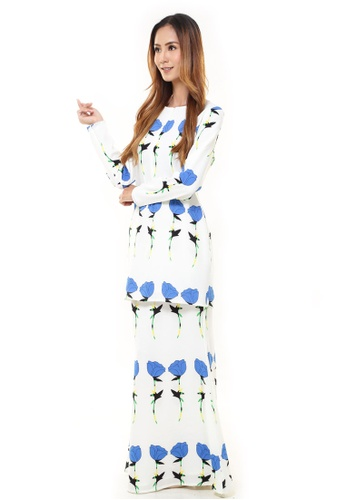 Rina Nichie Couture white and blue Rina Printed Kurung Blue Lily Flower FB4D7AA5A0822EGS_1