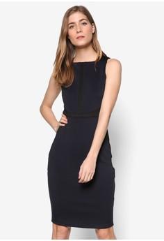 【ZALORA】 Collection 對比色邊飾無袖鉛筆連身裙