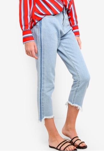 Something Borrowed blue Contrast Wash Ripped Hem Jeans 1DF57AA830F4ECGS_1