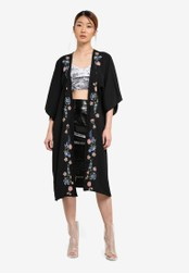 Something Borrowed black Embroidered Kimono Cardigan B65B0AA43487B1GS_1