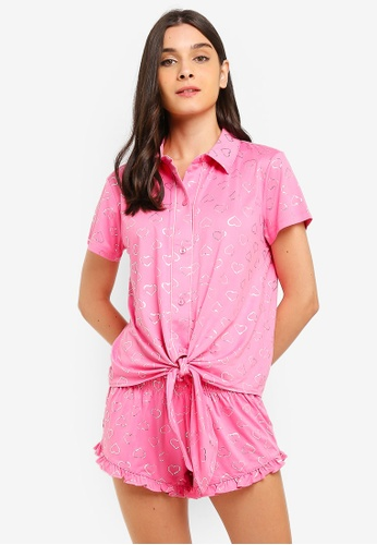 3e65bc9dcea Chelsea Peers pink Holographic Heart Short Pyjamas Set 9DA2DAAA20347AGS 1
