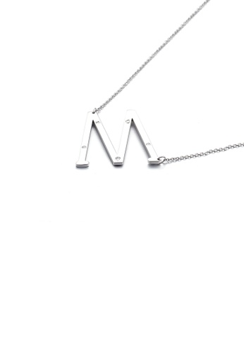Glamorousky white Simple Personality English Alphabet M 316L Stainless Steel Pendant with Cubic Zirconia and Necklace 9CF03AC8B89264GS_1