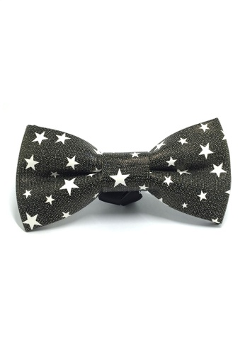 Splice Cufflinks Fluky Series Black & White Stars Design PU Leather Bow Tie SP744AC70QQVSG_1