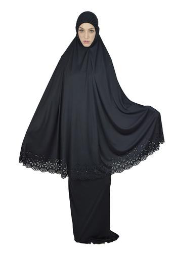 Cantik Butterfly Fashion black Cantik Butterfly Belle Telekung Set 0611BAAFFE4D52GS_1