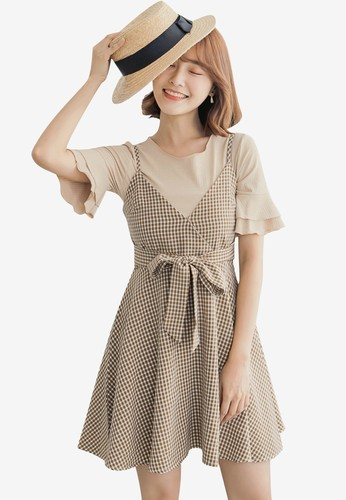 Tokichoi yellow Gingham Cami Dress With Top 41256AABDAB604GS_1