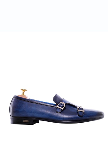 Zeve Shoes blue Zeve Shoes Loafer Slipper - Electric Blue Double Monk Strap (Hand Painted Patina) 90984SH9B8820DGS_1