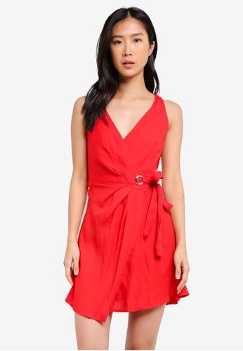 INDIKAH red Wrap Mini Dress IN119AA0SCCIMY_1
