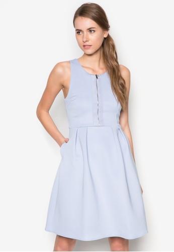 拉鍊傘擺連身裙,zalora時尚購物網評價 服飾, 洋裝
