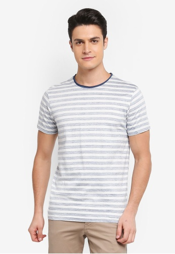 Indicode Jeans 白色 短袖條紋T恤 36BC1AA0E24B13GS_1