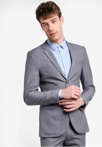 Topman 灰色 簡約修身西裝外套 TO413AA46VYNMY_1