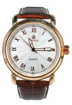 Orkina Men's Quartz Movement Business Styles Leather Strap Wrist Watch