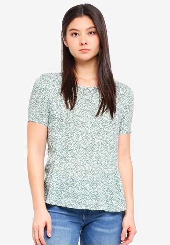 ICHI green Facova Short Sleeves Top A7F4EAA036E457GS_1