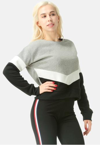 London Rag grey Color Block Sweatshirt F1A35AAAEBC7D8GS_1