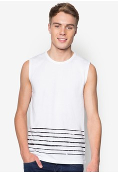 Muscle Tee With Stripe Print Detail