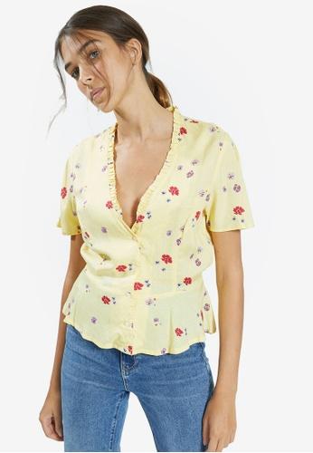 PIMKIE 黃色 花卉 印花短袖 上衣 AD88EAAF7B3840GS_1
