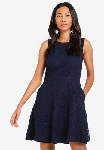ZALORA BASICS navy Basic Fit And Flare Lace Dress ED635AAEE9AA41GS_1