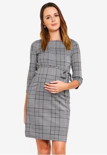 Mama.licious grey Maternity Nataly 3/4 Mini Dress 270FEAA9283420GS_1