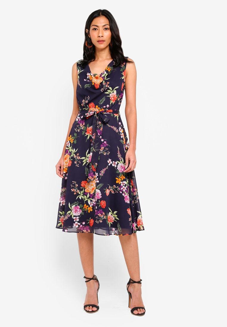Blossoms Dorothy Dress Billie Navy Perkins amp; Navy Cowl Blue Floral Neck 5xA0H40an