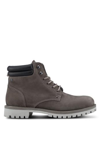 Jack & Jones grey Stoke Nubuck Boots F3481SH848EC10GS_1