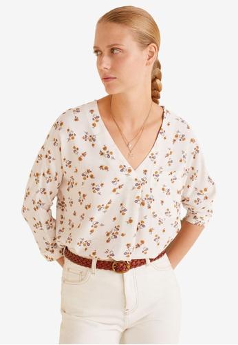 Mango white Floral Print Blouse A7E77AAB826606GS_1