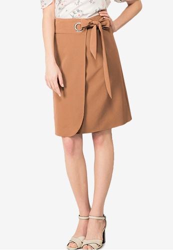 Kodz brown Foldover Ring Detail Skirt 1F3B6AABB0F309GS_1