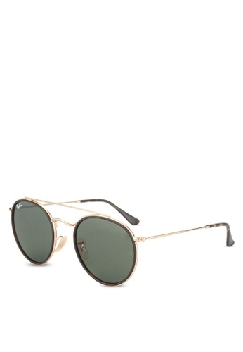 Ray-Ban 金色 Round Double Bridge RB3647N Sunglasses RA896GL90GRPMY_1