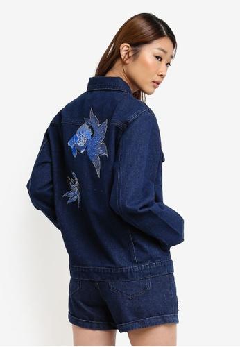 Something Borrowed blue Embellished Oversized Denim Jacket 06F82ZZF283B4BGS_1