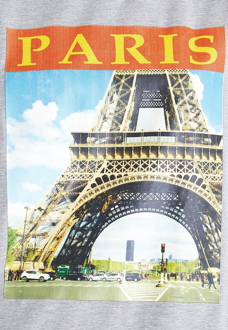 Light Tee Paris Grey Gray Pomelo Graphic Oversized qHwX7P