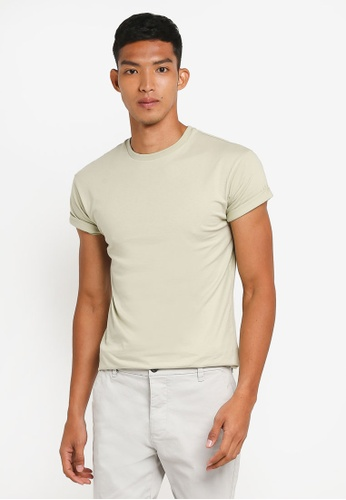 Topman green Short Sleeve Light Green Muscle Fit Crew Neck Rolled Sleeves FFDFCAAD45854FGS_1