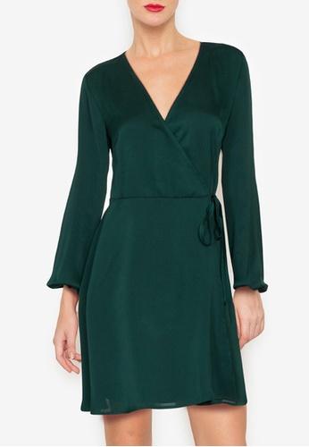 ZALORA OCCASION 綠色 綢緞交叉短洋裝 0FF79AAB6CCB1DGS_1