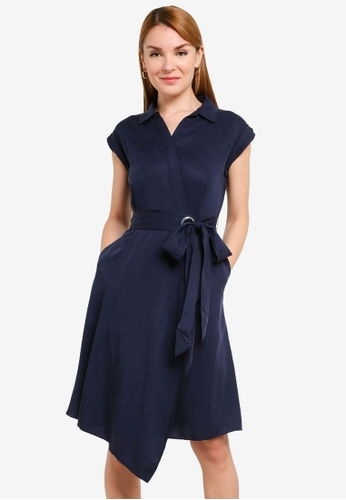Hopeshow navy Asymmetrical Hem Front Wrap Dress C4B8DAA916F8FAGS_1