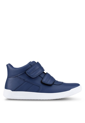 ZALORA navy Faux Leather High Top Sneakers C8E72SH29D66A6GS_1