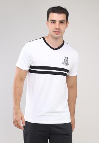 Bossini Men white V Neck Crazylines Short Sleeves T-Shirt 5D2E9AA071BAF1GS_1