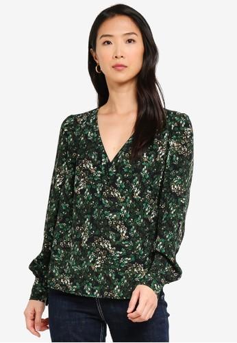 Vero Moda green Amber V Neck Wrap Top 16157AA141FD42GS_1