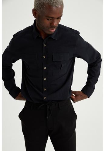 DeFacto black Long Sleeve Cotton Shirt 287ECAA0ABF44DGS_1